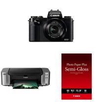 "Canon PowerShot G5 X Digital Camera + PIXMA Pro-100 Wireless Printer and Canon Photo Paper Semi-Gloss 13"" x 19"" (50 Sheets)"