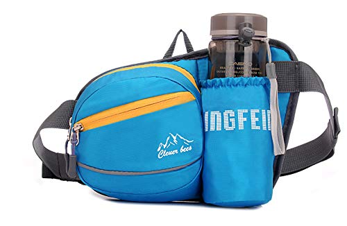 Tircuger Fanny Pack with Water Bottle Holder for Women Men Waist Bag for Travel Daily Life Running Cycling Camping Hiking Hunting Fishing Shopping (Blue)
