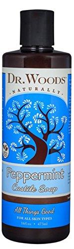 Dr. Woods Pure Peppermint Liquid Castile Soap, 16 Ounce