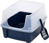 Calvinci - IRIS Open-Top Pet Cat Litter Box with Shield and Scoop w/ Removable Shield YRS0636