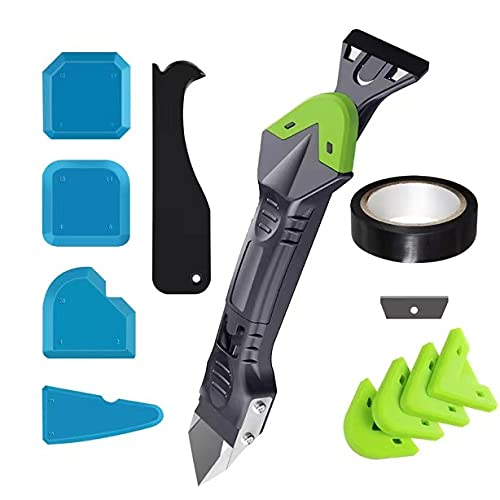 Caulking Tool,6 in 1 Silicone Caulking Tool Kit with Stainless Steel Caulk Remover Scraper with 5 Multi-Functional Sealant Finishing Tool and 5 Replaceable Silicone Pad for Kitchen Bathroom and Frame
