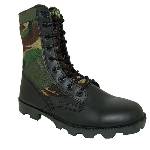 Krazy Shoe Artists Jungle Boot 8 Inch Leather Black Camouflage Tactical Men's Combat
