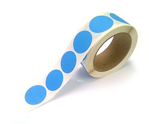 """Blank Color Coding Stickers, Writable Surface – 500 Permanent Labels per Roll (Blue Fluorescent, 1.5"""" Circle)"""