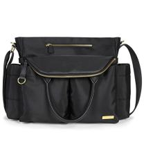 Skip Hop Diaper Bag Satchel: Chelsea Downtown Chic with Changing Pad & Stroller Attachment, Black