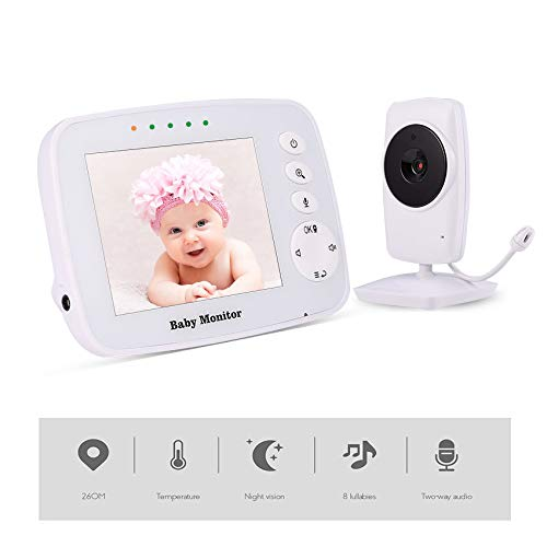 """MEIWU Baby Monitor, 3.2"""" Baby Video Monitor with Camera and Audio LCD ScreenSupport VOX Night Vision Temperature Monitoring, 960 ft Long Range and Two-Way Talk lullabies"""