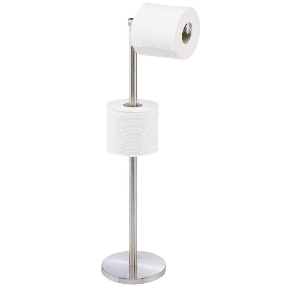 mDesign Modern Toilet Paper Roll Holder Stand and Dispenser - for Bathroom Storage Organization - Holds Mega Rolls - Brushed Stainless Steel