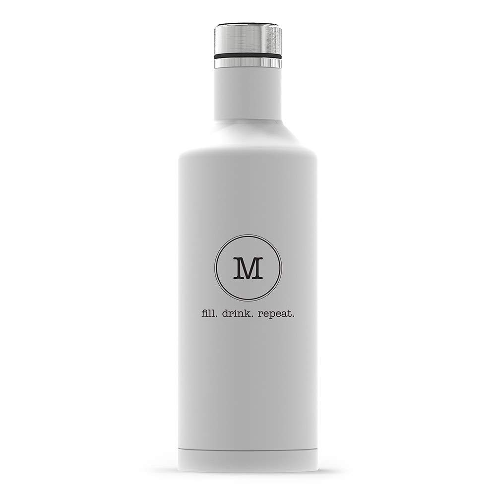 Weddingstar Personalized Stainless Steel Insulated Water Bottle 17oz – Customizable Reusable Durable Eco-Friendly Thermal Metal Canteen for Hot or Cold Drinks 100% BPA-Free – Circle Monogram White
