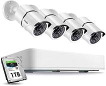 ZOSI 5MP Security Cameras System 4 CH 5.0MP (2.5 X 1080P) Surveillance DVR with 1TB Hard Drive and (4) 5.0MP 1920p (2560TVL) Weatherproof Bullet CCTV Cameras 100ft Night Vision (Renewed)