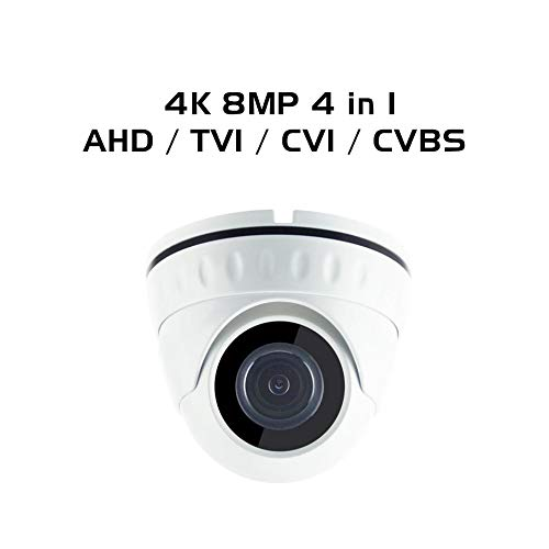 Ares Vision 8MP 4K 4 in 1 AHD/TVI/CVI/Analog Dome Fixed 2.8mm Wide Angle Lens Camera, Indoor/Outdoor w/IR Night Vision