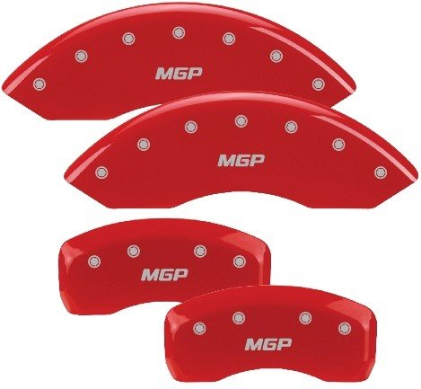 MGP Caliper Covers 12181SMGPRD 'MGP' Engraved Caliper Cover with Red Powder Coat Finish and Silver Characters, (Set of 4)