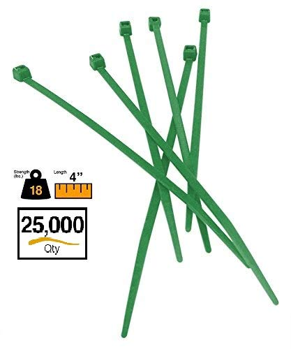 """BuyCableTies 4-8"""" Miniature Style Indoor/Outdoor Cable Ties - 18 lb Rated - Made in USA - 10 colors - UV Resistant - 100-1,000 per bag (4"""" - 25,000 pack, Green)"""