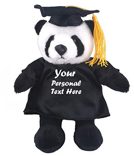Plushland Plush Stuffed Animal Toys 12 Inches Present Gifts for Graduation Day, Personalized Text, Name or Your School Logo on Gown, Best for Any Grad School Kids (Graduation Panda Black Gown)