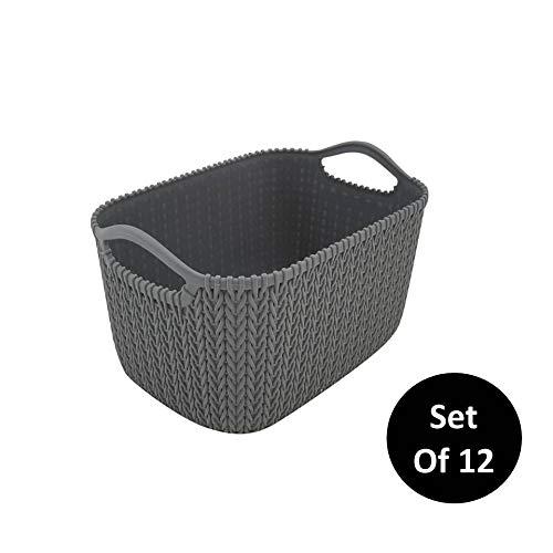 HOMZ, Grey, Set of 12 Small Decorative Rattan Storage Bin, 12 Each