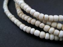 TheBeadChest Vintage White Ghana Glass Beads 2 Strands 5mm African 24 Inch Strand Handmade