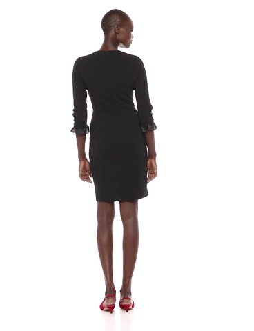 Donna Morgan Women's 3/4 Elbow Sleeve Sheath Dress with Satin Cuff