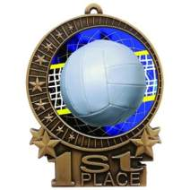 """Express Medals 1 to 50 Packs - 3"""" Volleyball 1st Place Gold Medal with Neck Ribbon Award XMD"""