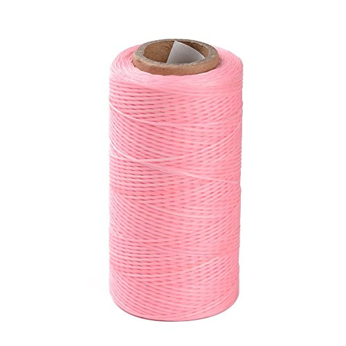 Pandahall 1Roll/260m/284Yards 1x0.3mm Flat Waxed Polyester Cords Macrame Bracelet Beading Thread Pink