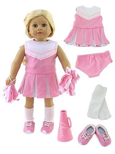 """Pink Cheerleader Outfit Cheerleading Uniform with Dress, Bloomers, Poms, Megaphone, Socks, and Shoes   Fits 18"""" American Girl Dolls, Madame Alexander, Our Generation, etc.   18 Inch Doll Clothes"""