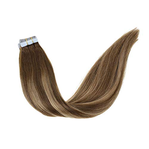 "LaaVoo 18"" Double Sided Skin Weft Tape in Remy Hair Extensions Ombre Color Darker Brown to Light Blonde Glue In Human Hair Extensions Dip Dyed Balayage Tape in Extensions 20Pcs 50G/Package (#3/24/3)"