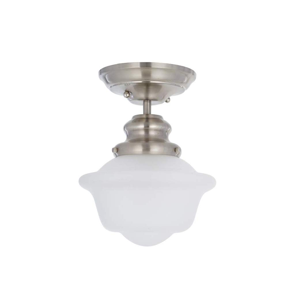 Amazon Brand – Ravenna Home Flush Mount Pendant Ceiling Light with Opal Glass Shade and LED Light Bulb - 7.75 x 7.75 x 10 Inches, Brushed Nickel