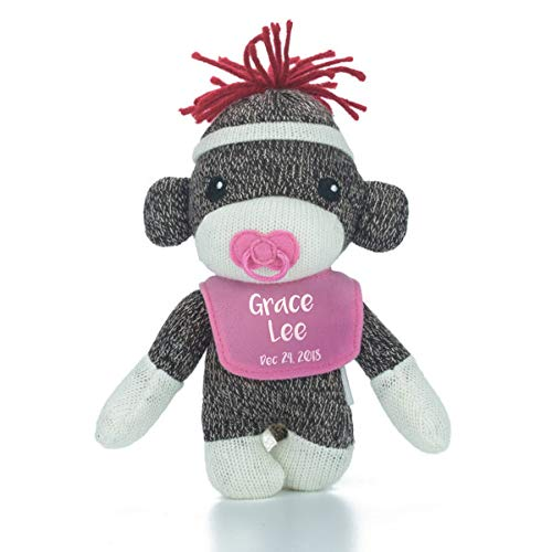 Plushland Cute Super Soft Sockiez for Baby Boy with Custom Bib 6 Inches-Stuffed Animal Toy-Lovable for Kids-First Birthday Gift (Pink)