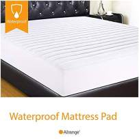 """Allrange Essential Clean&Safe Quilted Fitted Waterproof Mattress Pad, Stretch-up-to 16"""", Moisture Management, Snug Fit, Mattress Protector, Twin"""