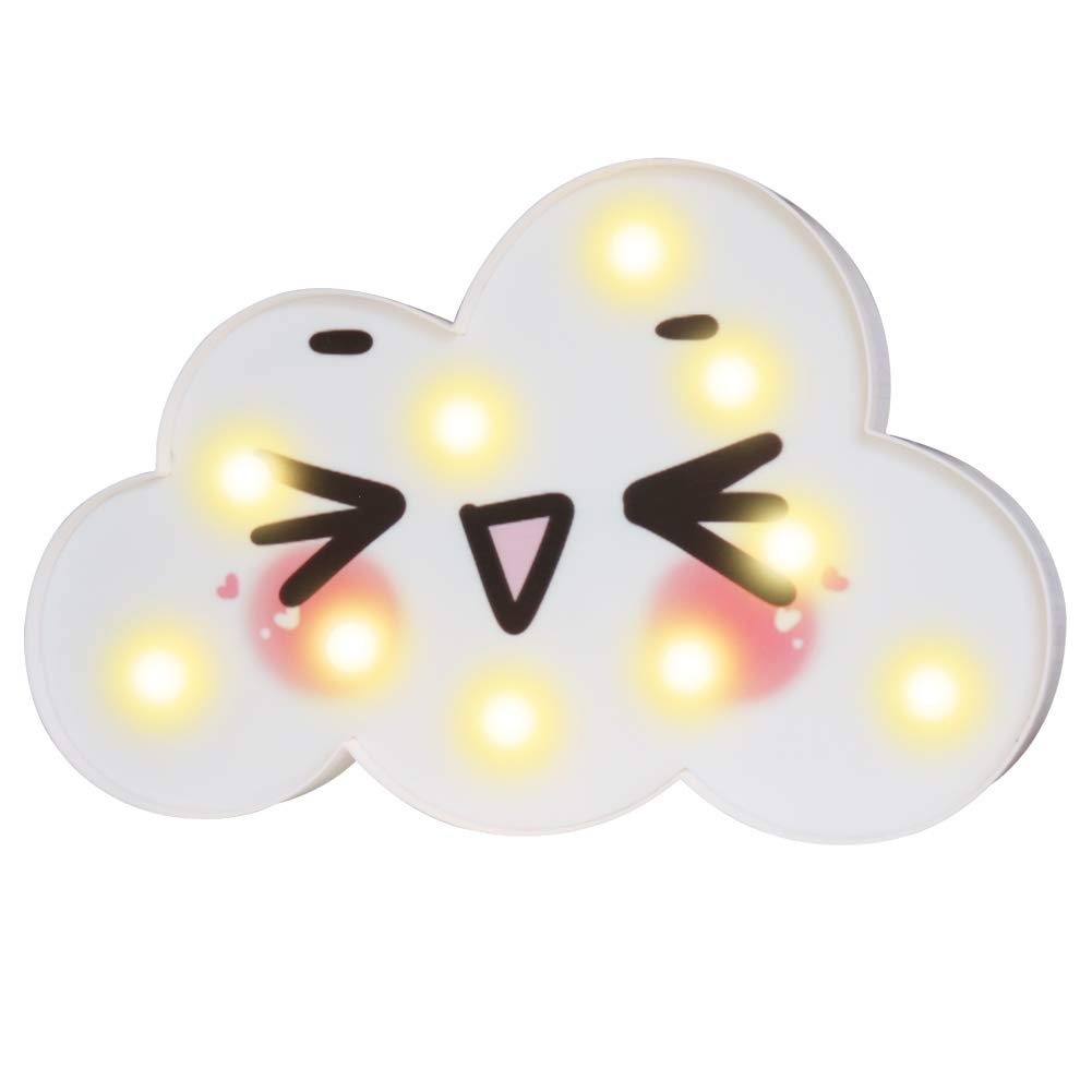 Pooqla Cute Cloud LED Night Lights, Emoji Face Marquee Cloud Signs, Battery Operated Warm Lighting Girl's Gift Toy Home Decor for Girls, Kids, Baby, Nursery, Living Room Dorm (Wink Cloud)