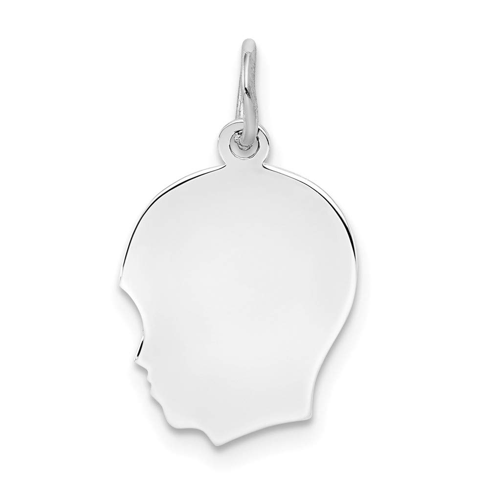 Sterl Silver Rh Plt Engraveable Boy Front Back Disc Pendant Charm Necklace Engravable Left Facing Girl Head Fashion Mothers Day Jewelry For Women Gifts For Her