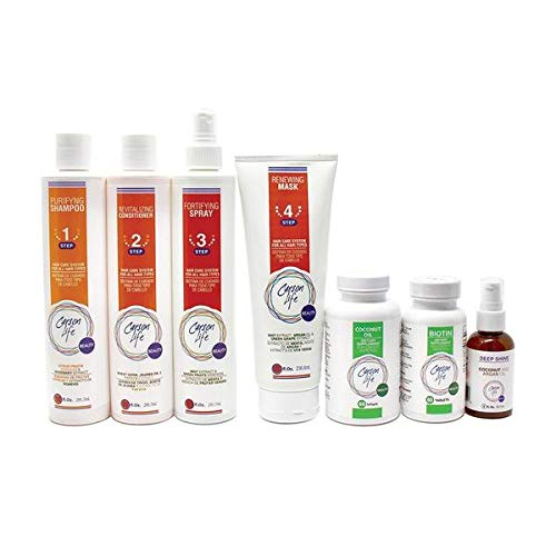 CARSON LIFE 7 Stage Hair Loss System Kit For Color Treated Hair (Purifying Shampoo, Revitalizing Conditioner, Fortifying Spray & Renewing Hair Mask, coconut oil caps & biotin) - Paraben Free