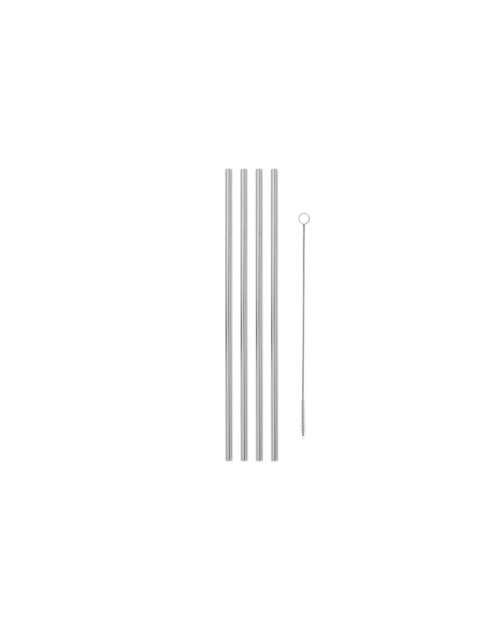 W&P WP-PSS-10 Porter Metal Straws w/ Cleaner, Reusable, Eco-Friendly, Sustainable, Stainless Steel, Silver, 10 inch, Set of 4