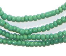 Aqua Green Seed Beads - 2 Strands of 3mm Ghanaian Glass Beads - The Bead Chest