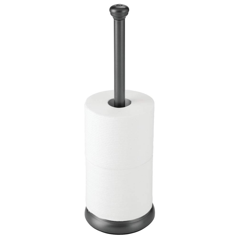 mDesign Decorative Metal Free-Standing Toilet Paper Holder Stand with Storage for 3 Rolls of Toilet Tissue - for Bathroom/Powder Room - Holds Mega Rolls - Graphite Gray