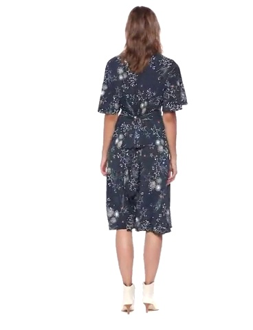 Donna Morgan Women's Plus Size Faux Wrap Fit and Flare Dress