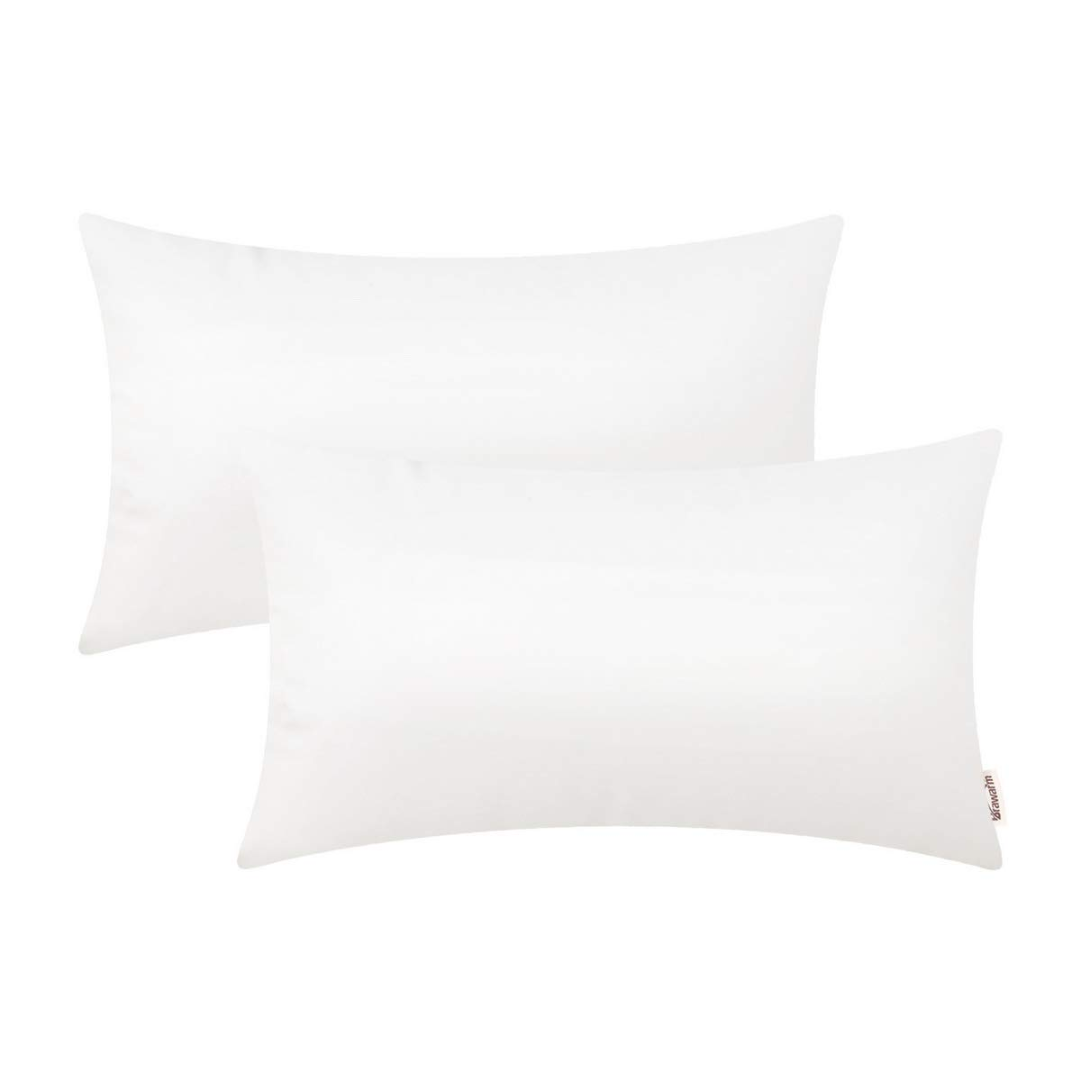 BRAWARM Pack of 2 Cozy Bolster Pillow Covers Cases for Couch Sofa Home Decoration Solid Dyed Soft Faux Leather Both Sides 12 X 20 Inches True White