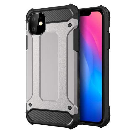 Olixar for iPhone 11 Protective Case - Hard Rugged Armour Cover - Delta Armour - Shock Protection - Wireless Charging Compatible (Silver)