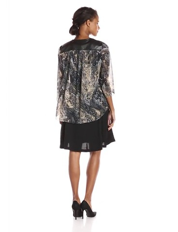 S.L. Fashions Women's Lether Trim Printed Jacket Dress
