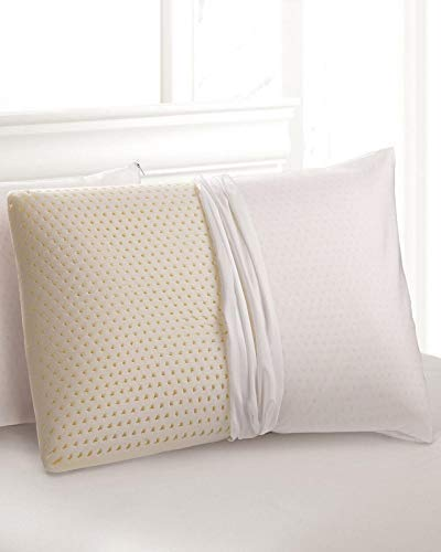 2-Pack QUEEN - Soft All Natural Talalay Latex Pillow with Organic Cotton Washable Outer Covering