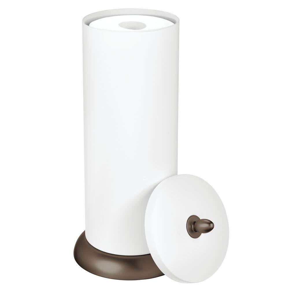 mDesign Plastic Free Standing Toilet Paper Holder Canister - Storage for 3 Extra Rolls of Toilet Tissue - for Bathroom/Powder Room - Holds Mega Rolls - Matte White/Bronze
