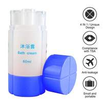 4-In-1 Travel Bottle Set TSA Approved, 60ml (2Oz)4 Organized Leak Proof Travel Size Toiletries, Refillable Travel Sets Cosmetic Toiletry Containers for Shampoo Lotion Soap.Travel Accessories (Blue)
