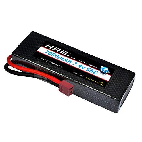HRB 2s Lipo Battery 7.4V 55C 7000mAh Hardcase Lipo Batteries Pack with Deans T Plug for 1/8 1/10 RC Car Model Traxxas Slash Buggy Team Associated