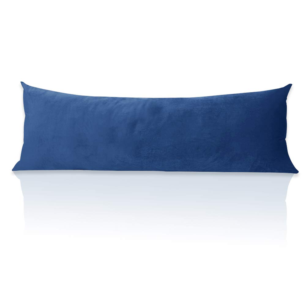 Oversized Body Pillow Zipper Cover - Plush Velvet Long Pillowcase Silky Smooth & Warm Feeling Pillow Covers for Bed/Car Rear Seat, Blue, 20 x 54-inch, Single Piece