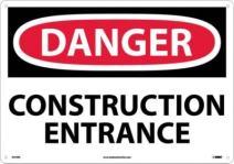 "NMC D470RC OSHA Sign, Legend ""DANGER - CONSTRUCTION ENTRANCE"", 20"" Length x 14"" Height, Rigid Plastic, Red/Black on White"