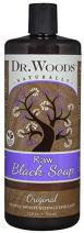 Dr. Woods Natural Raw African Black Moisturizing Liquid Castile Soap, 32 Ounce