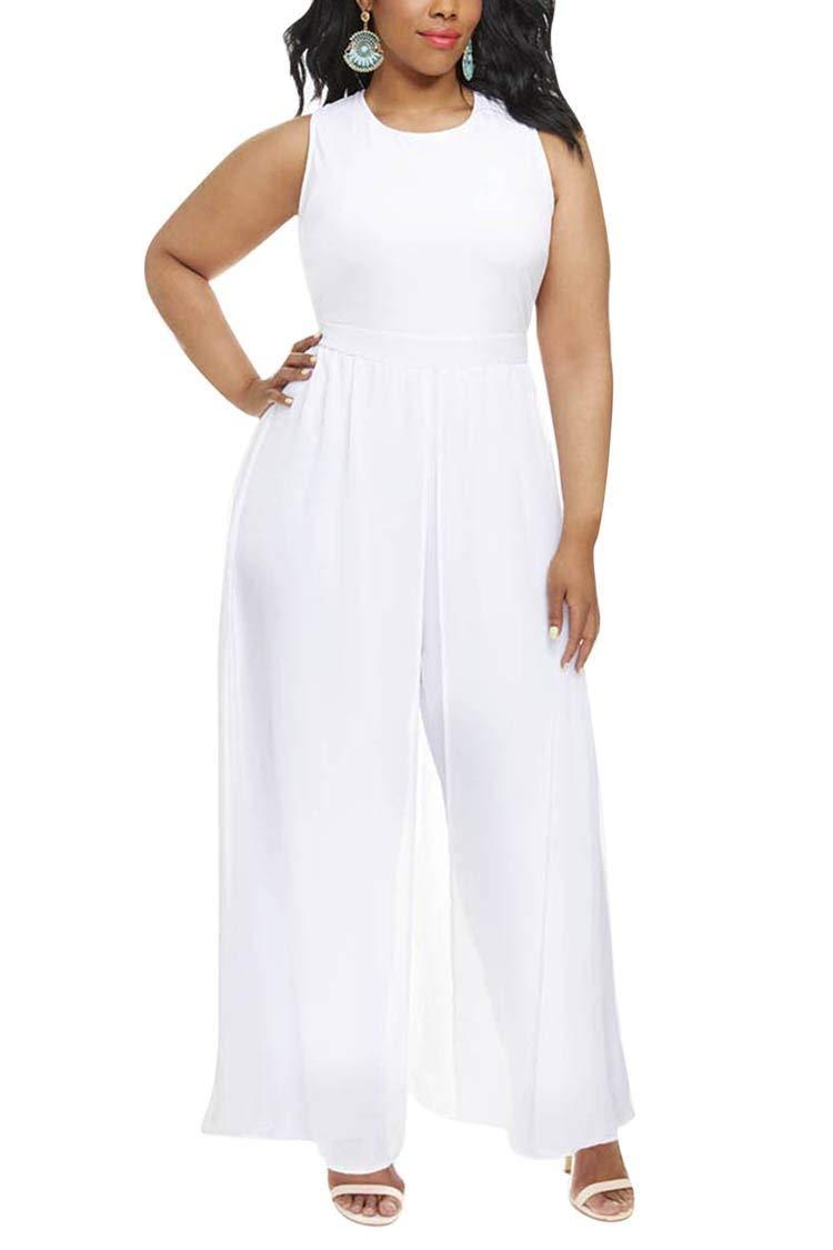 Linsery Women Plus Size Chiffon Overlay Legged Party Night Out Jumpsuit