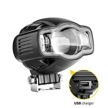 """TSIALEE 4"""" 20W LED Auxiliary Lights Aluminum Casting Housing Rugged Design with USB charging, Spot Driving Fog Light Off Road Led Lights Bar with Metal Brackets for SUV Boat Jeep Lamp,2 years Warranty"""