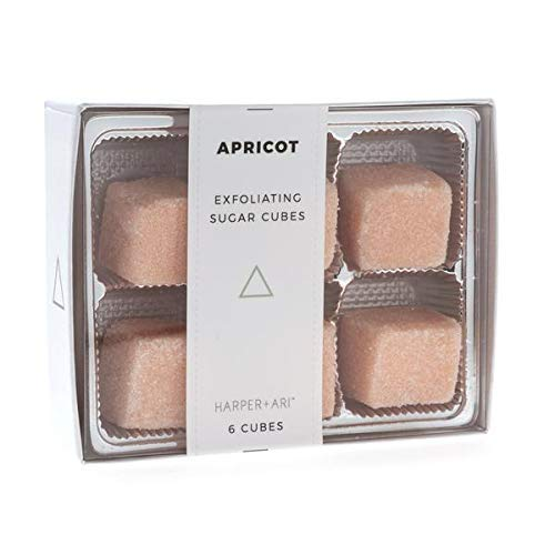 Harper + Ari Sugar Scrub Cubes, Exfoliating Body Scrub Gift Set Box, Soften and Smooth Skin with Shea Butter and Aloe Vera, 6 Piece Box Set (Apricot)