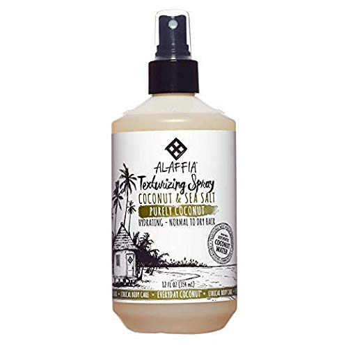 Alaffia - Purely Coconut Texturizing Spray, For Normal to Dry Hair, Hydrating Support to Add Volume and Body with Neem, Coconut Water and Extract, Fair Trade, Coconut and Sea Salt, 12 Ounces