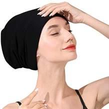 Satin Lined Sleep Cap Slouchy Beanie Hat Night Hair Cap for Women Black
