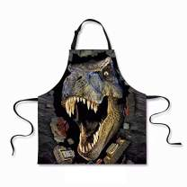 """Dellukee Women Men Kitchen Apron with Adjustable Neck Dinosaur Image Unique Cool Waterproof Aprons for Home Restaurant BBQ Grill, 29.5"""" x 26.3"""""""