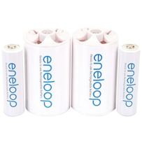 """eneloop Panasonic K-KJS1MCA2BA D Size Battery Adapters with eneloop AA 2100 Cycle Ni- MH Pre-Charged Rechargeable Batteries, 2 Pack with 2""""D Adapters"""